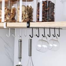 glass kitchen cupboard shelves kitchen cupboard storage rack cupboard shelf hanging hook organizer closet clothes glass mug shelf hanger wardrobe holder