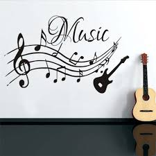 popular guitar wall decals buy cheap guitar wall decals lots from high quality musical notes music wall stickers pvc removable living room diy nursery home decor guitar