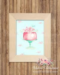 floral mint pink cake print bakery decor printable sign