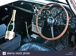 vintage aston martin db5 dashboard in aston martin db5 james bond classic car stock photo