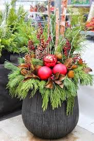 Christmas Decorations For Outdoor Pots by 1052 Best Christmas U0026 Winter Pots Images On Pinterest Christmas