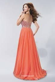 elegant a line strapless sweetheart long orange chiffon prom dress