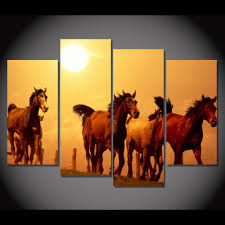 4 piece framed hd printed canvas painting horses sunset farm wall