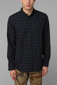 urban outfitters globe dixon button down flannel shirt in black