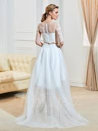 high low wedding dress with sleeves two layer scoop neck half sleeves high low wedding dress tbdress
