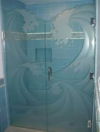 love the idea of a glass wave shower door would be great for a