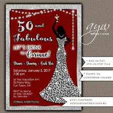 50th birthday party invitations woman bling dress fifty u0026 fabulous