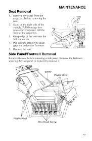 maintenance seat removal side panel footwell removal polaris