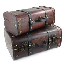 2 wooden suitcase set distressed ornamental box storage