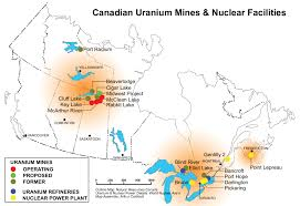 Map Of Winnipeg Canada by Map Of Uranium Mines And Their Productivity Worldwide 1425 X 625
