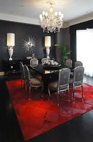 black lacquer table dining room modern with area rug console table