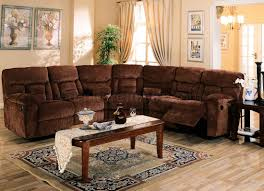 brown chennile fabric sectional sofa w recliner seat