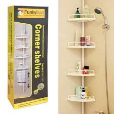 Telescopic Bathroom Shelves Funkybuys Deluxe Branded White 4 Tier Telescopic Adjustable 70cm