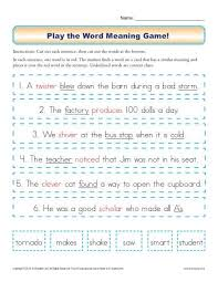 play the word meaning game word meaning sentences and context