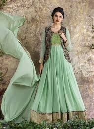 buy eid collection party wear georgette pista green embroidered