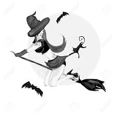 pretty witch flying on a broom with black cat royalty free