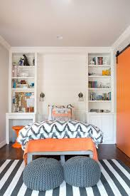 West Elm Chevron Duvet Orange And Gray Boy U0027s Bedroom Features A Shiplap Accent Wall Lined