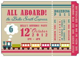 personalized kid u0027s train ticket birthday party invitations