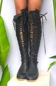 womens boots green leather elven forest green leather knee high boots leather knee
