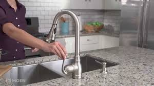stainless kitchen faucet anabelle spot resist stainless pulldown kitchen faucet moen
