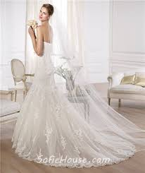 fit and flare mermaid strapless tulle lace wedding dress with