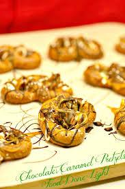 chocolate caramel pretzels food done light
