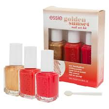 essie nail polish lacquer golden sunset nail art kit 3 bottle set