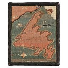 Newfoundland Map Newfoundland Map Hooked Grenfell Mat Modern Folk Art And Art