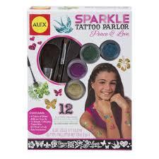 custom body art 12 color deluxe glitter tattoo set kit 30 stencil