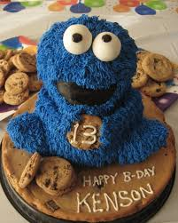 cookie monster birthday cake made at home with wilton 3d bear pan