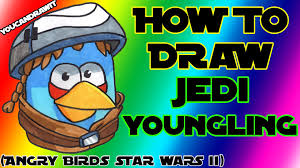 how to draw jedi youngling bird from angry birds star wars 2