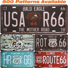 Route 66 Home Decor Route 66 Car American License Plate Usa Vintage Home Decor Tin