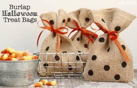 halloween treat bags burlap and polka dots