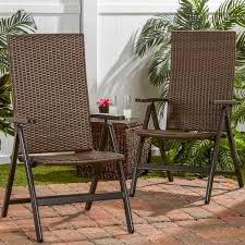 Stackable Wicker Patio Chairs Hand Woven Pe Wicker Outdoor Reclining Chairs Set Of 2 Walmart Com