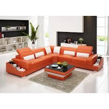canapé d angle cuir pleine fleur grand canapé d angle en cuir pleine fleur jazz orange