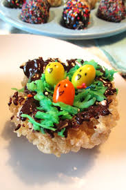 easter rice crispy treats edible nests and chocolate dipped eggs