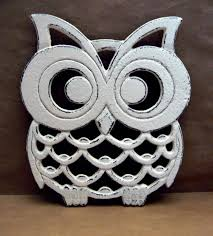 cast iron owl trivet off white shabby chic woodland kitchen