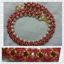 pink beads necklace images Floral pink golden beaded necklace jpg
