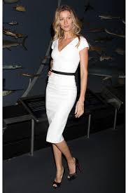 bundchen white elegant knee length dress for sale