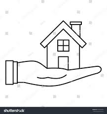 house hand icon outline illustration house stock vector 516499378