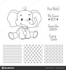 baby elephant outline design set with seamless patterns u2014 stock