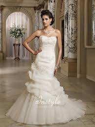 strapless asymmetrically pleated organza bridal dress uk with back