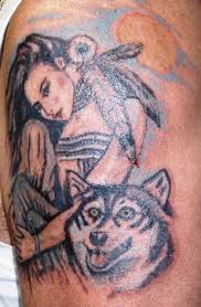 indian and 3d wolf design idea