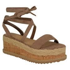 womens ladies flatform cork espadrille wedge sandals ankle lace up