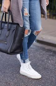 Skinny Jeans And Converse Distressed Skinny Jeans White High Top Converse Sneakers Black