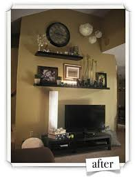 vaulted ceiling shelving above tv decor above tv