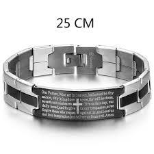silver stainless steel bracelet images Men 39 s black silver stainless steel english lord 39 s prayer bible jpg