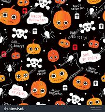 halloween seamless background cute seamless comic pumpkin halloween skull stock vector 114623413