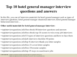 Hotel General Manager Resume Samples by Top 10 Hotel General Manager Interview Questions And Answers 1 638 Jpg Cb U003d1428283232