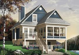 Architecturaldesigns Com by Four Seasons Sloping Lot Cottage 21571dr Country Plan